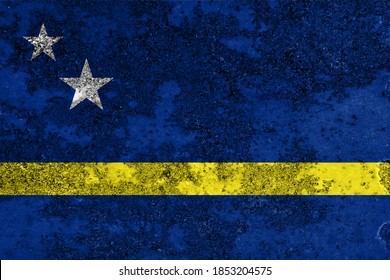 Flag of Curacao painted on the old grunge rustic iron surface. Abstract paint of Cura?ao national flag on the iron surface