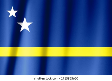 Flag of Curacao waving in the wind