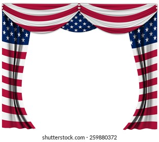 Flag curtain waves silk flag of United States Of America USA