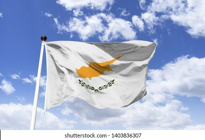 Flag of Cyprus, the highest symbol of the official country representation, official colors, emblems or badges with meanings, fluttering under a blue sky.