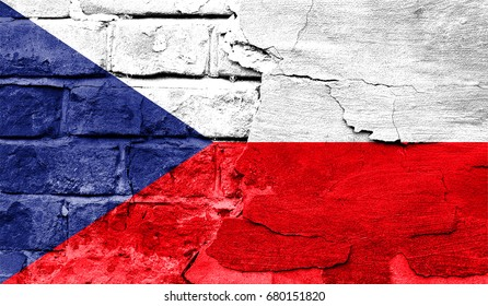 Flag of Czech Republic against a brick wall.