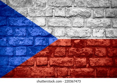 flag of Czech Republic or banner on brick texture
