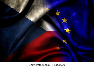 Flag of the Czech Republic and the EU flag. The Czech Republic became a member of the European Union in 2004