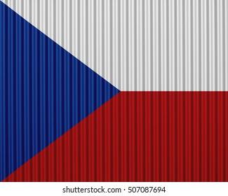 Flag of Czech Republic on corrugated iron