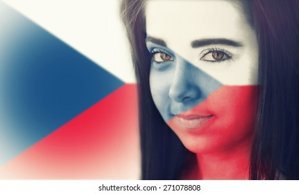The flag of Czech republic on the face of a smiling woman. / Color effects and custom white balance is added to this photo.