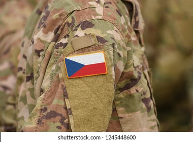 Flag of Czech Republic on soldiers arm (collage).