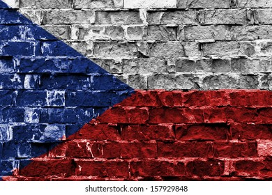 Flag of Czech Republic painted on brick wall
