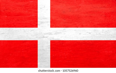 Flag of Dannebrog with chalk color.