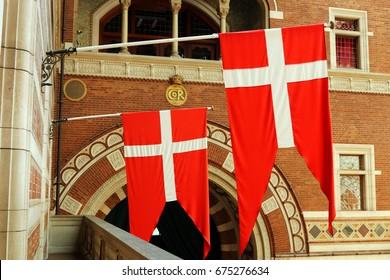 The flag of Denmark (Dannebrog).  Copenhagen City Hall.