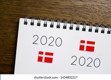 Flag of Denmark on 2020 letters