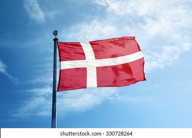 Flag of Denmark on the mast