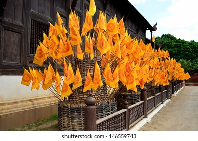 Flag desecration at Wat Phan Tao,A place for the worship of Thailand