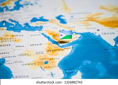 the Flag of djibouti in the world map