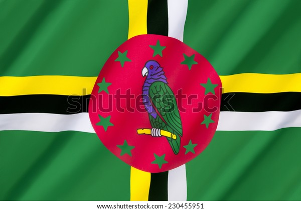 Flag of Dominica - adopted 3rd November 1978, with some small changes made in 1981, 1988, 1990. Features the national bird, the Sisserou Parrot. (Often confused with flag of the Dominican Republic).