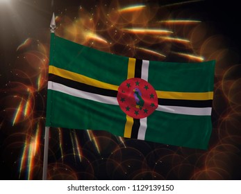 Flag of Dominica with fireworks display in the background