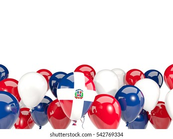 Flag of dominican republic, with balloons isolated on white. 3D illustration