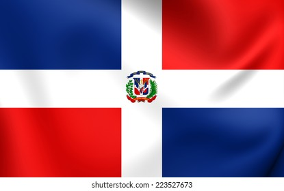 Flag of Dominican Republic. Close Up.