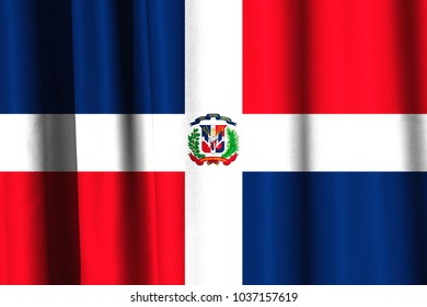 Flag of the Dominican Republic on fabric