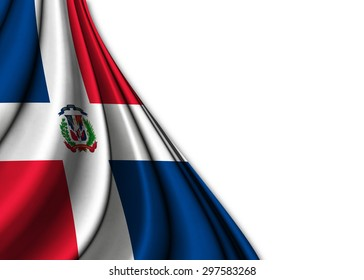 Flag of the Dominican Republic  in silk   gently folded on a white background to make room for your creativity
