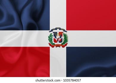 Flag of Dominican Republic waving Illustration