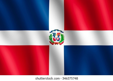 Flag of Dominican Republic waving in the wind giving an undulating texture of folds in the fabric. The Image is in the official ratio of the flag - 2:3.