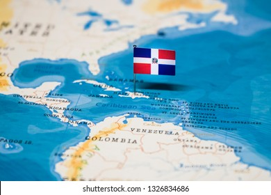 the Flag of dominican republic in the world map