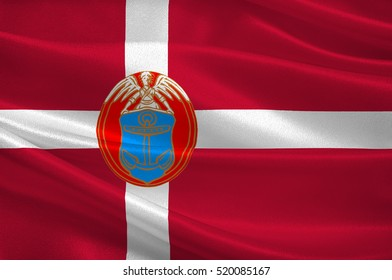 Flag of Dragor is a municipality in Region Hovedstaden of Denmark. 3d illustration