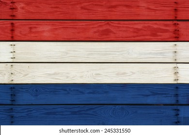 Flag Of Dutch Painted On Wooden Planks White Blue And Red Colors