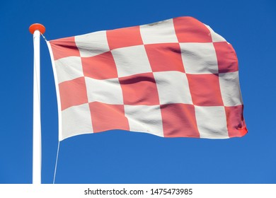 flag of Dutch province North Brabant flying in the wind