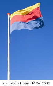 flag of Dutch province North Holland flying in the wind