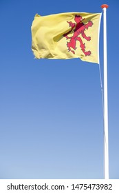 flag of Dutch province South Holland flying in the wind