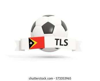 Flag of east timor, football with banner and country code isolated on white. 3D illustration