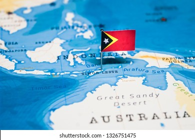 the Flag of East Timor in the world map