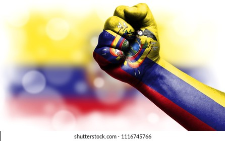 Flag of Ecuador painted on male fist,strength