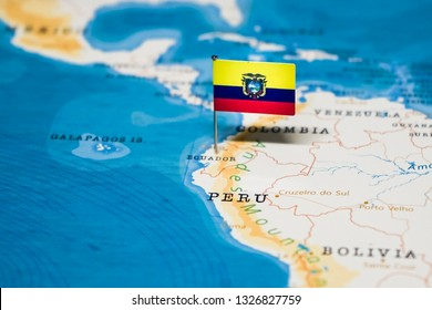 the Flag of ecuador in the world map