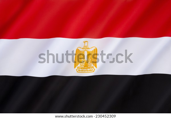 Flag of Egypt - The Arab Liberation flag dating back to the Egyptian Revolution of 1952. The flag bears the Egyptian national emblem, the Eagle of Saladin. Adopted 4th October 1984.
