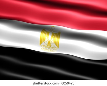Flag of Egypt, computer generated illustration with silky appearance and waves