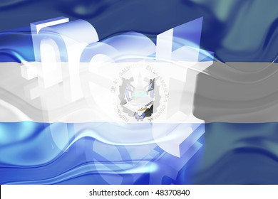 Flag of El Salvador, national country symbol illustration wavy net domain website