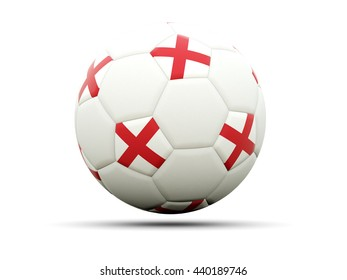 Flag of england on football, isolated on white. 3D illustration