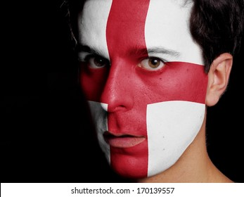 Flag of England Painted on a Face of a Young Man