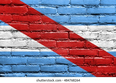 Flag of Entre Rios Province, Argentina, painted on brick wall