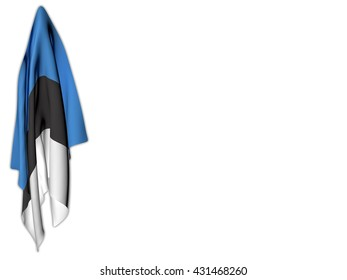 Flag of Estonia hanging on a white background