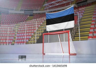 Flag of Estonia in hockey arena with puck and net