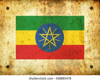 Flag of Ethiopia painted on a rusty plate with screws, aged by time-3d illustration