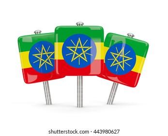 Flag of ethiopia, three square pins. 3D illustration