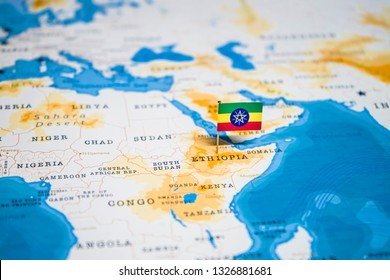 the Flag of ethiopia in the world map