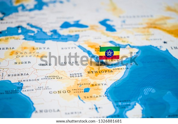 Flag Ethiopia World Map Stock Photo (Edit Now) 1326881681