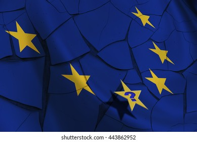 """Flag of EU with 12 yellow stars on a cracked wall after Brexit with a question """"Who will be the next?"""" The consequences, challenges and opportunities facing Britain outside the European Union."""