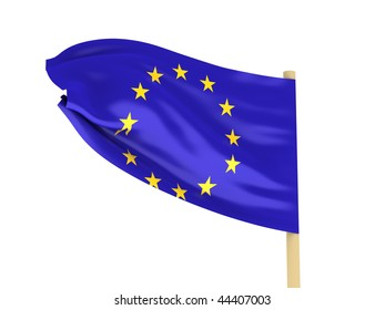 Flag of the EU on pole on white background. High quality 3d render.