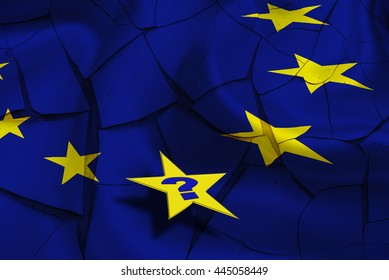 Flag of EU with yellow stars on a cracked wall and a star with a question mark. An uncertainty after UK's Brexit that could stimulate countries to leave or flee from the EU and could tear Europe apart